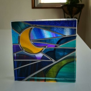 Healing art made with glass art  Tinker Bell Moon night1