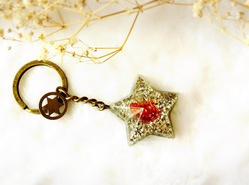 Orgonite purifying energy / power generator / glass star key ring / red