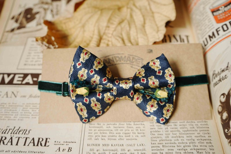 Antique tie hand-made bow tie-dark blue-yellow rose version