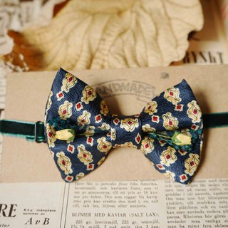Antique Tie Remanufactured Handmade Bow Tie - Dark Blue - Yellow Rose Edition