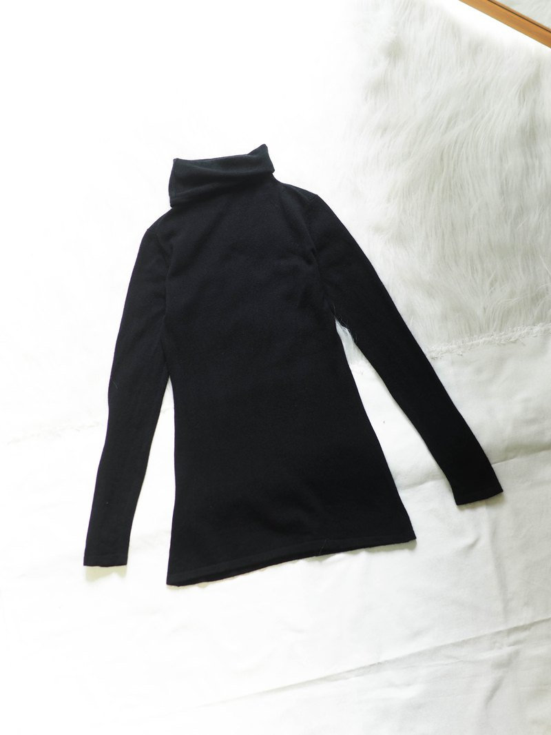 Moon night dark black turtleneck fit antique cashmere vintage cashmere sweater dress cashmere
