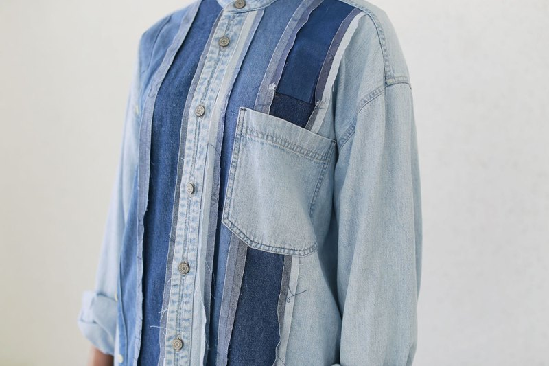 Denim patchwork shirts