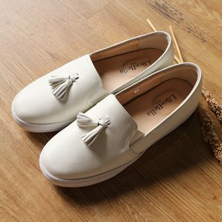 [Pure] color tassel thick-soled casual shoes - white - MIT full leather Taiwan handmade shoes