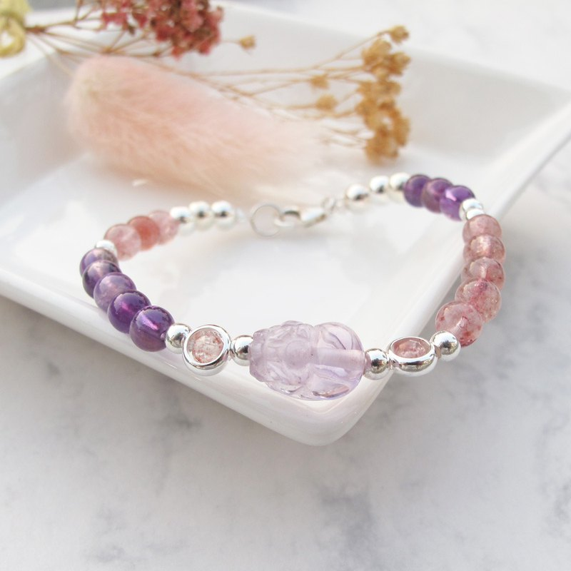 Big staff Taipa [貔貅 series] lucky amethyst 草莓 × strawberry crystal lucky person to open energy bracelet