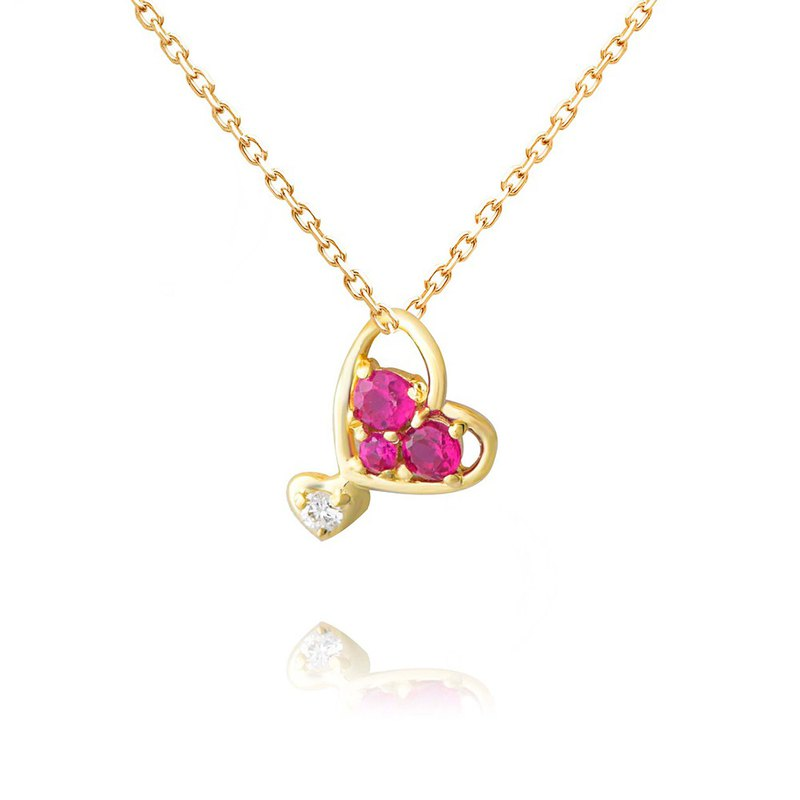 [brilliantia] 10K peach red heart diamond - necklace - ( PT0317 )