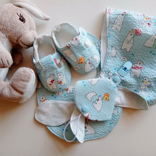 Polar bear family, Miyue gift group, baby shoes, baby hat, bib, two-in-one nipple clip