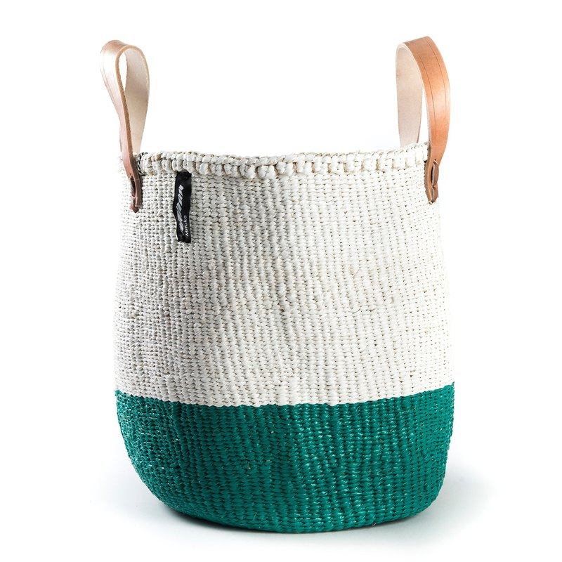 Short medium-sized dual-purpose woven basket (50/50 grass green)