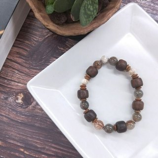Bracelet. Leaflet rosewood*砗磲*red green hair crystal wild bracelet