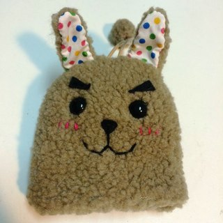 RABBIT LULU 【Bunny eyebrow big handsome rabbit key bag】 creative market handmade rabbit slaves dedicated - milk brown