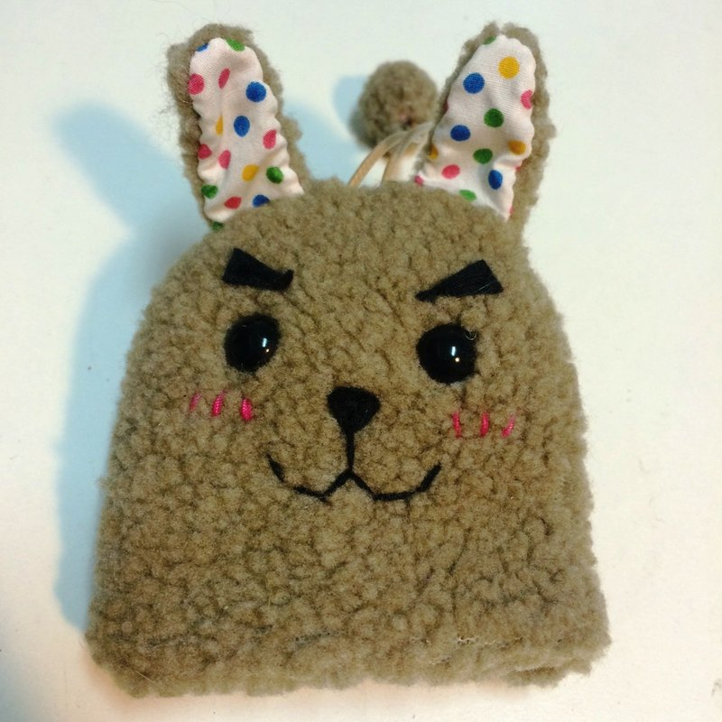 RABBIT LULU rabbit thick eyebrows handsome rabbit key bag hand-created rabbit slave special - milk tea color