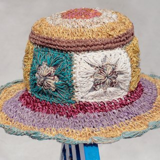 Valentine's Day gift limited handmade knitted cotton hood / weaving hat / fisherman hat / straw hat / sun hat / hook hat - blue Mediterranean flowers woven