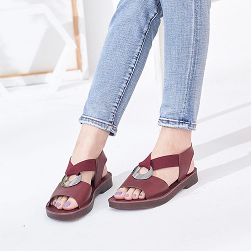 [Girl's earrings] thick vegetable tanned leather soft Q eight-character elastic sandals _ Oulan red