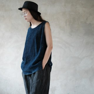 Thinking youth | retro washed denim vest tannin plant blue dyed Indigo tannin vest loose top