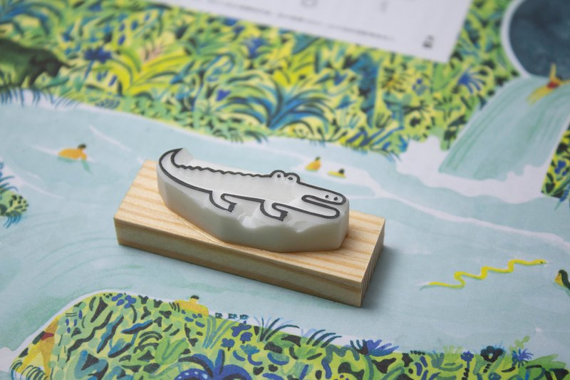 Hand engraved seal, cute little crocodile