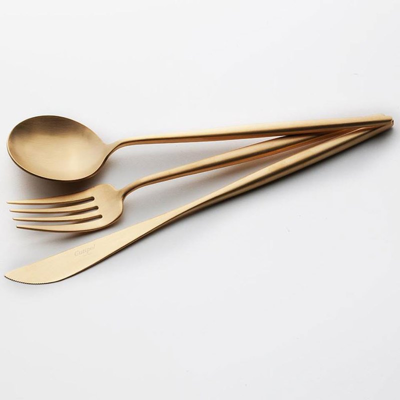 MOON  MATTE GOLD 3 Pieces Set (Table Knife/Spoon/Fork)