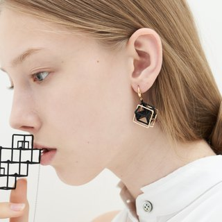 【String Art】3Dprinting Geometrical Double Cube Earrings