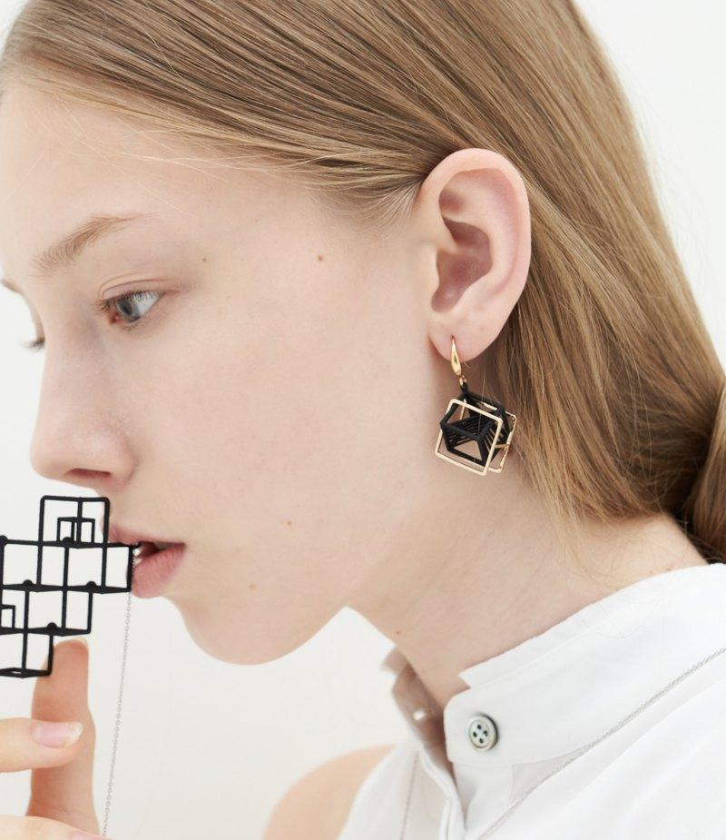 【String Art】3D打印 雙層立方體幾何吊墜耳環