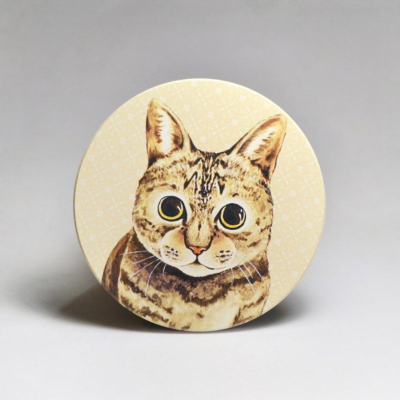吸水陶瓷杯墊-虎斑貓(送貼紙)(可加購客製文字)