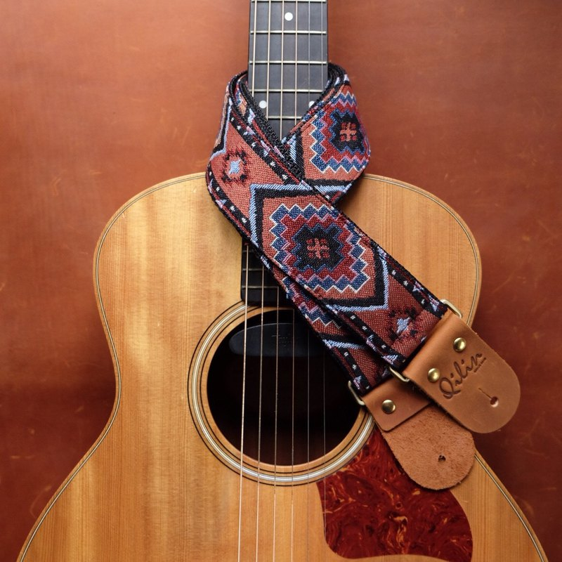 Red Triangle Woven Guitar Strap