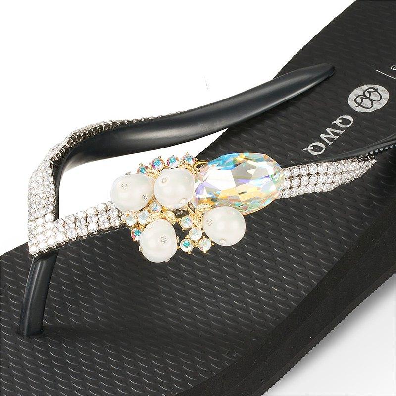 女款6cm厚底夾腳拖鞋-頂級首飾工藝水鑽-大珍珠寶石 爵士黑