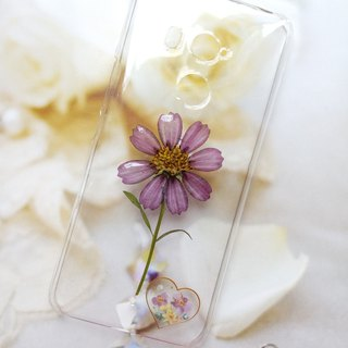 Pressed flowers phone case, handmade phone case, purple cosmos