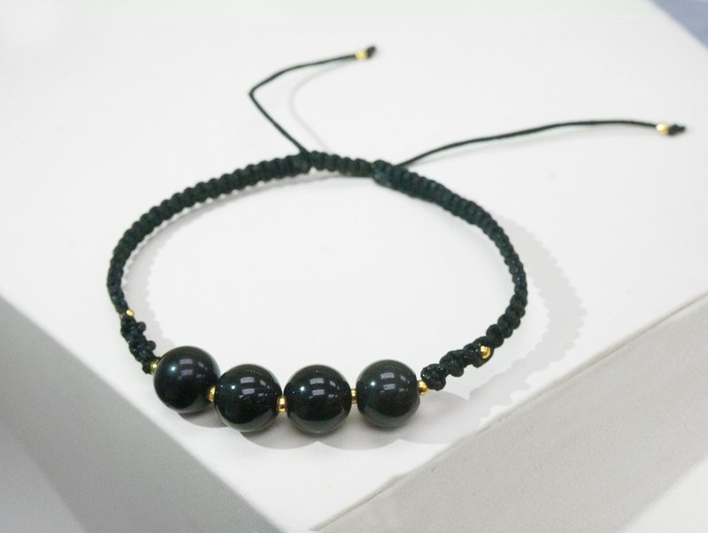 Edith & Jaz • Black Obsidian with Black Cord Bracelet
