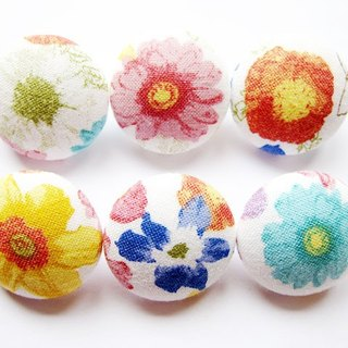 Sewing knitting fabric fastens hands as the material color flowers buttons