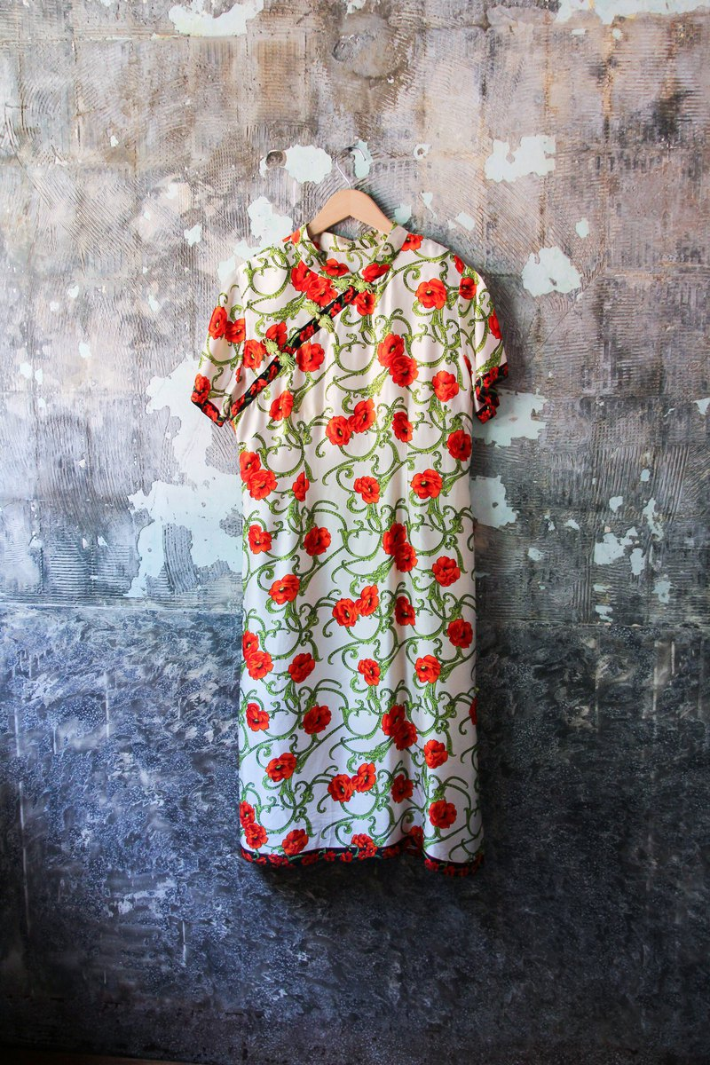 袅袅 department store - Vintage red flower cloth cheongsam dress retro