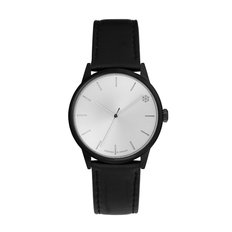 Chpo Brand Swedish Brand - POW Black Silver Dial Black Leather Watch