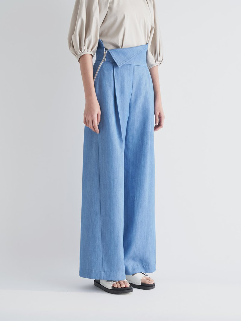 YIBO/light blue denim high waist reflex wide pants