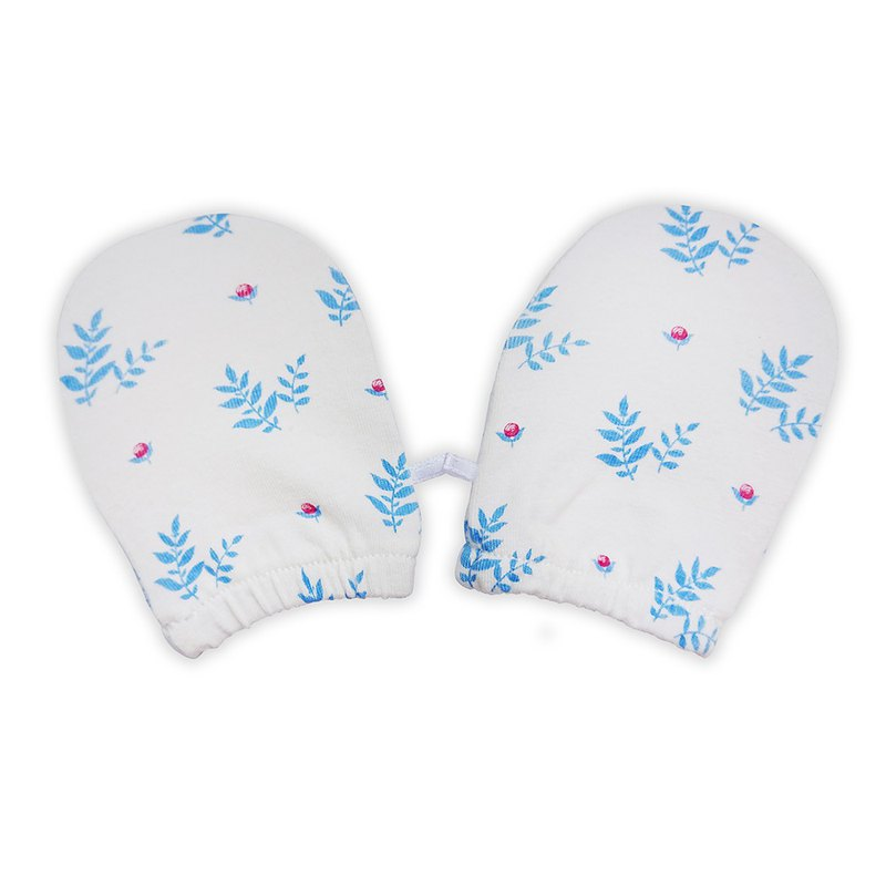 [Deux Filles Organic Cotton] Blue Leaf Newborn Gloves