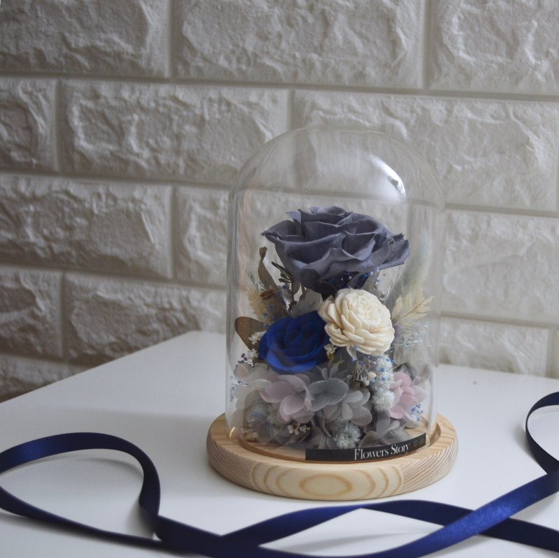 Gray-blue eternal rose glass enamel Morandi night light flower pot dry bouquet flower