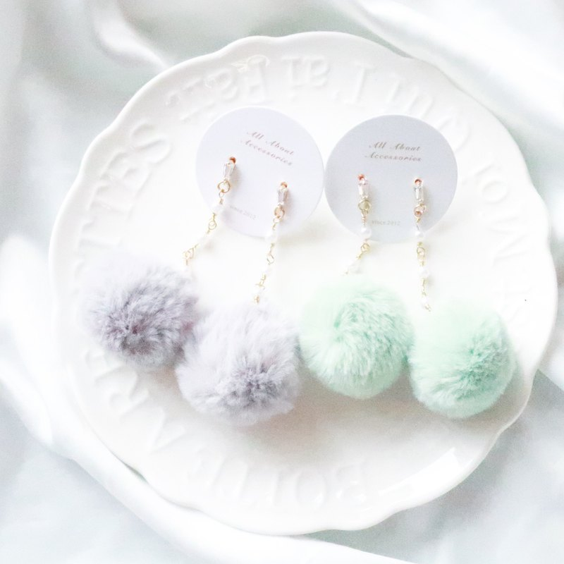 Winter Hair Ball Series - Small Pearl Hair Ball Earrings