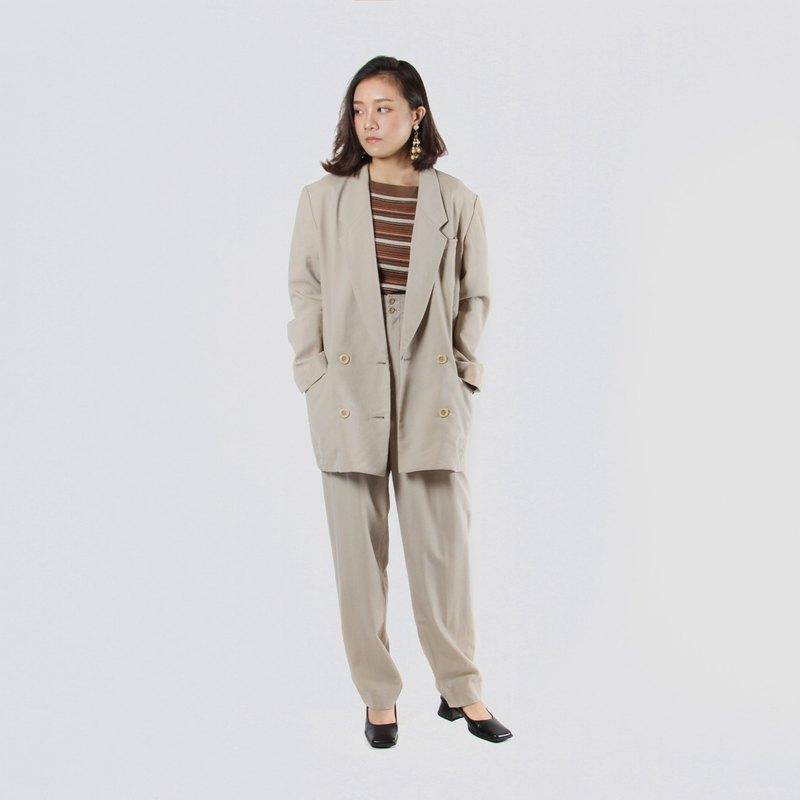 [Egg Plant Vintage] Ivory Minaret Thin Wool Pants Ancient Set