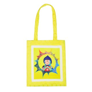 "SMALL POTATO Exclusive Original Design Handle Lemon Yellow Series Fun Illustration ""Illuminator"" Cloth"