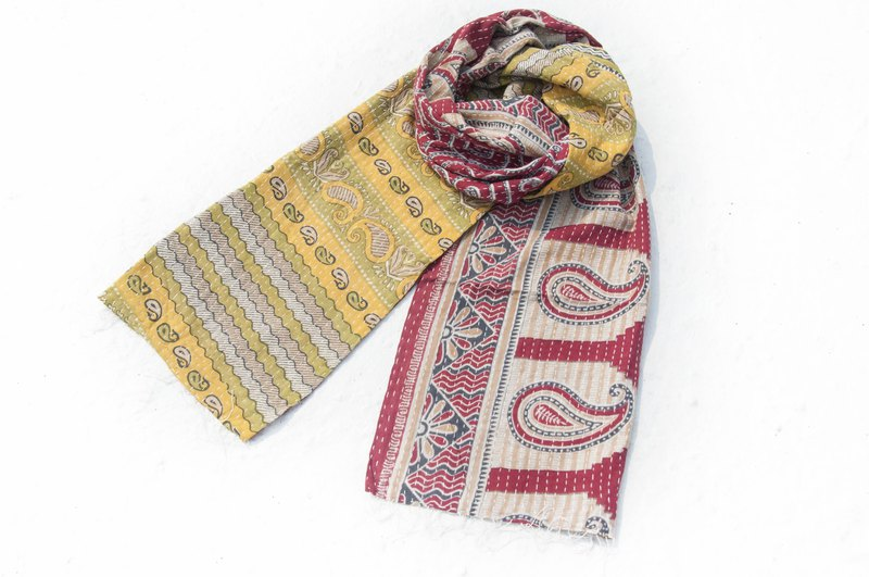 Hand-stitched gauze stitching scarves / embroidered scarves / embroidered scarves / hand-stitched sari silk scarves - flower vines