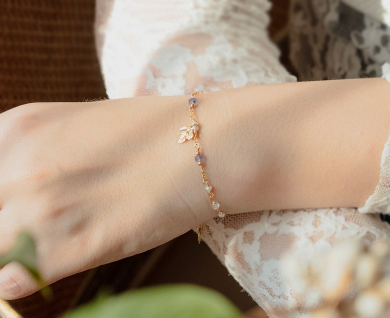 Nikko Wisteria 14kgf Tanzanite Moonlight Gold Leaf Bracelet