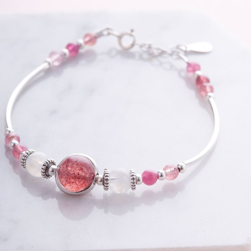 Rose Quartz, Moonstone, Pink Tourmaline, 925 Sterling Silver Bracelet