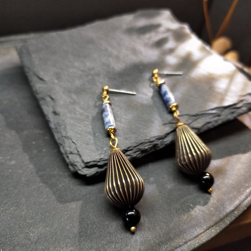 Pleated Lantern Earrings - Limited Edition - Brass Soda Stone (can be changed)
