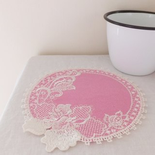 Four seasons'  embroidered coasters : Spring----Orchid