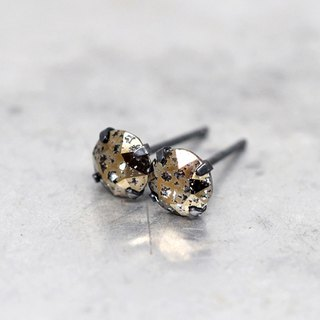 Gold 'Meteorite' Swarovski Crystal Earrings, Oxidized Silver, 6mm Round