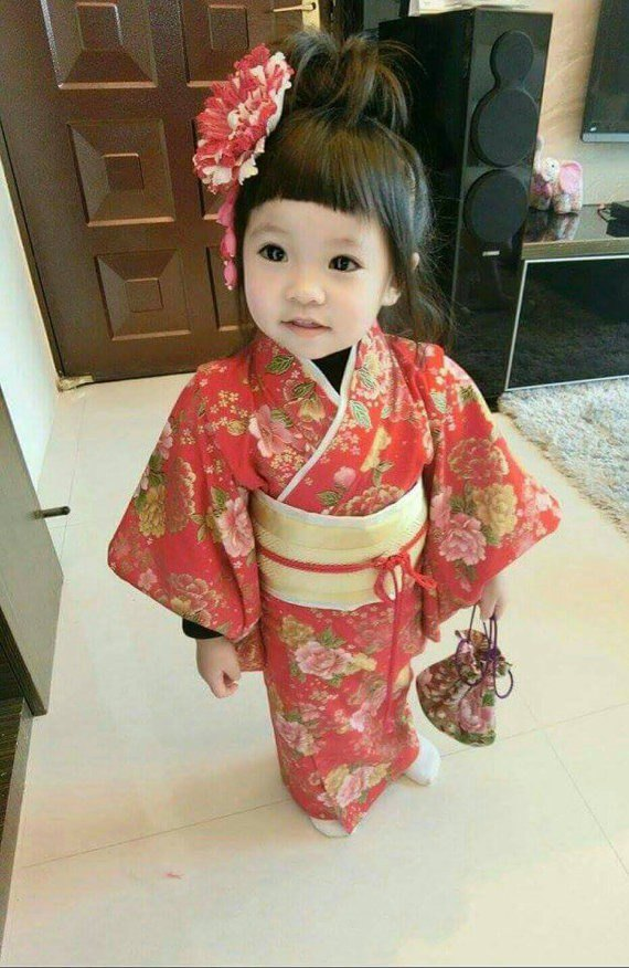 Hand made kimono child version and the wind red peony