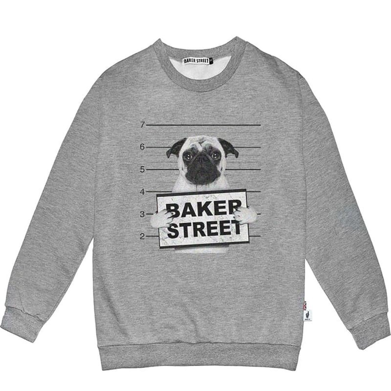 British Fashion Brand -Baker Street- No Good Printed Sweatshirt