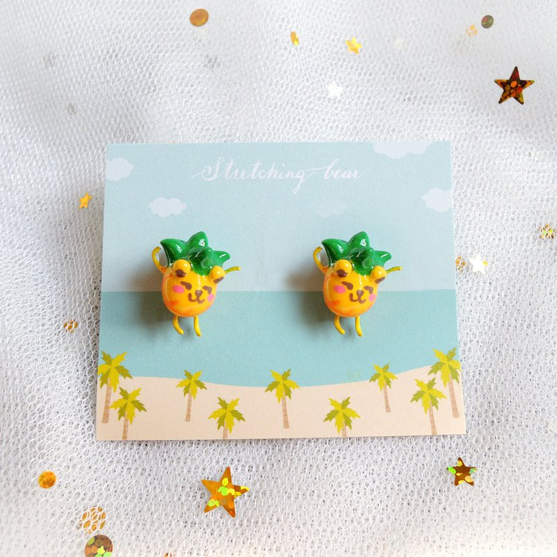 Stretching earrings_ Stretching Hawaii pineapple earring