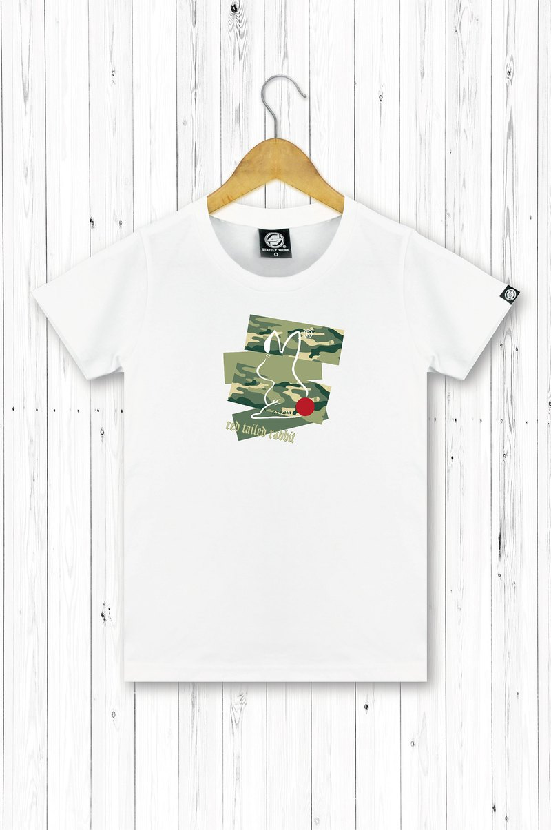 STATELYWORK Camouflage Red-tailed Rabbit Short T Women's White