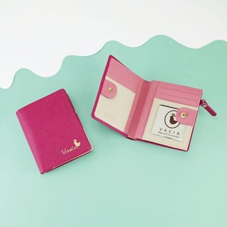 Deep Fuchsia (Pink): Pocket Book Short Wallet / Cow Leather 深粉紅色-錢包-皮革