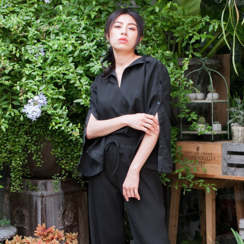Mu 煦: half-open lapels open placket shirt