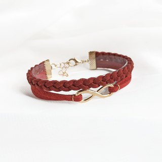 Handmade Double Braided Infinity Bracelets Rose Gold Series-dark red limited