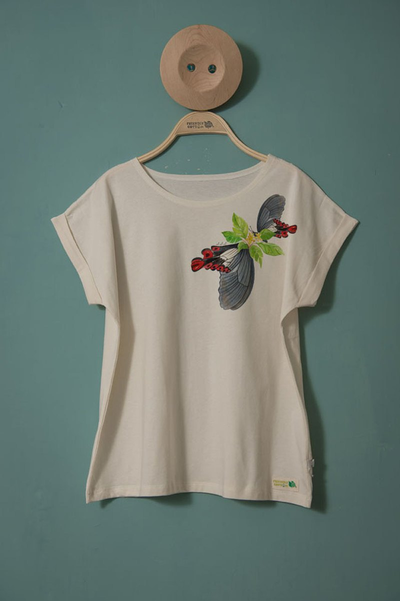 ~ wide tail phoenix butterfly ~ fold sleeve width T / / unique hand-painted wind does not hit the shirt cotton material comfortable and breathable //