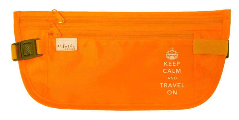 Keep Calm & Travel On Skinny Waistpocket - Orange